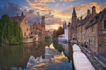 Foto op Canvas Brugge Bruges. Image of Bruges, Belgium during dramatic sunset.