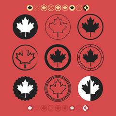 Canadian silhouette Maple Leaf flag symbol icons set