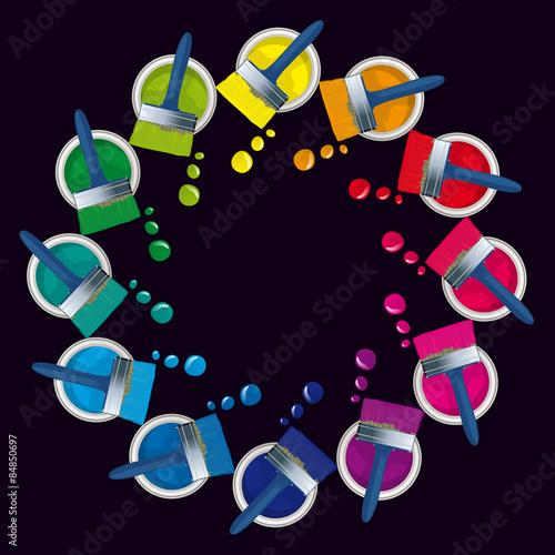 Cercle chromatique pots de peinture fichier vectoriel - Cercle chromatique peinture ...