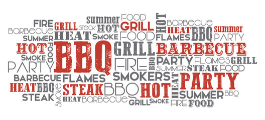 BBQ related word cloud orange and grey vector one layer eps.10