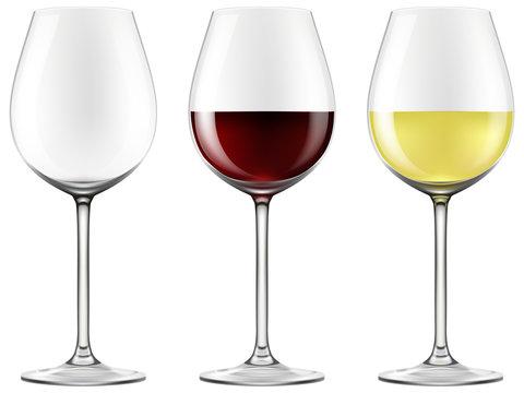 Wine glasses - empty, red wine and white wine.