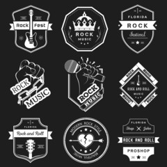 Set of vintage logos of rock music and rock and roll