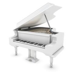 White grand piano close-up