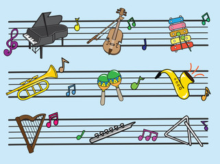 Musical Instrument Cartoon, Illustration Vector10