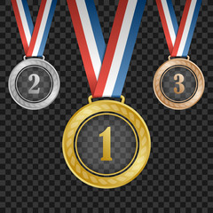 Gold, silver, bronze transparent award medals with ribbons on square background