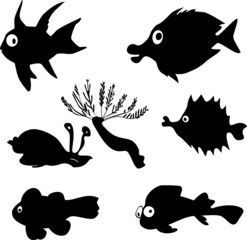 silhouettes of marine fish set