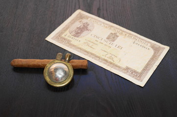 Old objects - old lighter,cigar,old bank-note