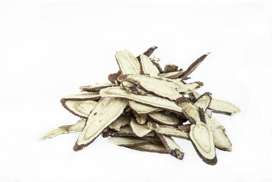 Chinese herbs used in alternative medicine isolated on white bac