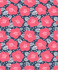 Seamless simple camellia pattern on navy background