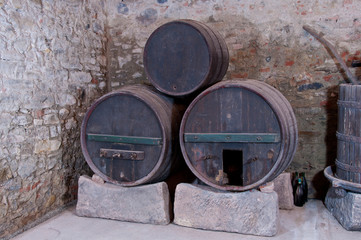 Three old casks