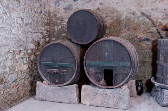 Three old casks