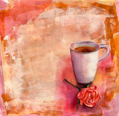Watercolour cup of tea with a tea rose on a colorful artistic background