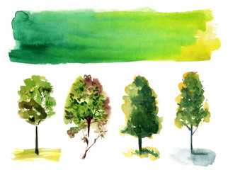 Set of various trees on white background with banner for text