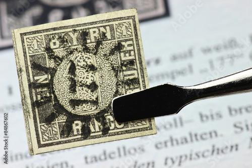 Schwarzer Einser Erste Deutsche Briefmarke Stockfotos Und