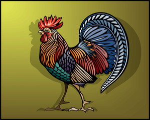 Rooster in color decorative ethno style