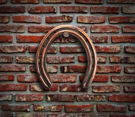 Horseshoe on wall.