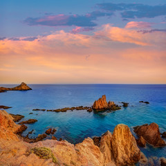 Canvas Prints Magenta Almeria Cabo de Gata las Sirenas point rocks