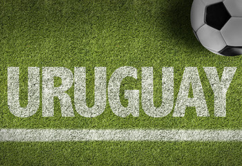 Soccer field with the text: Uruguay