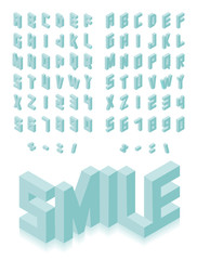 Isometric 3d type font set