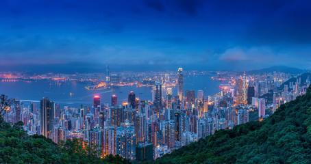 Hong Kong skyline. View from Victoria Peak.