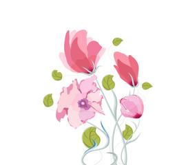 Beautiful summer flowers, watercolor