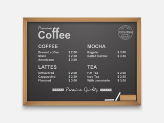 Coffee menu on chalkboard,vector
