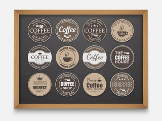 Set of vintage Retro Coffee Labels On Chalkboard,vector