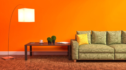 Orange interior with green sofa, wooden table and lamp