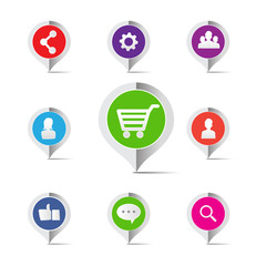 Shopping cart social network marketing concept icon - vector ill