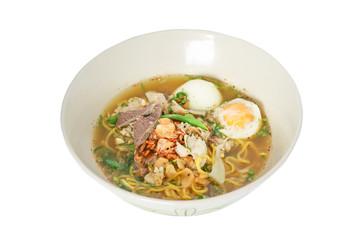 Thai noodle wich liver pork and Soft Boiled Egg