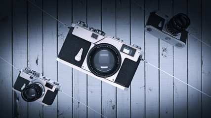 silver photo camera. Vintage. High resolution 3d