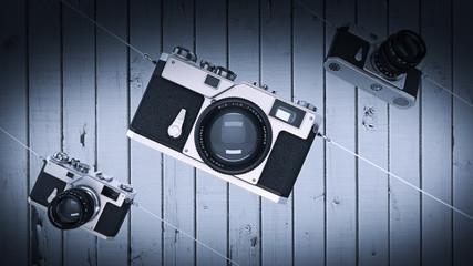 silver photo camera. Vintage. High resolution 3d