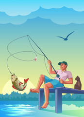 fisherman, fishing, pier, cat