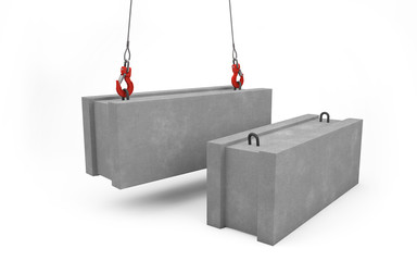 Concrete blocks for construction lifted