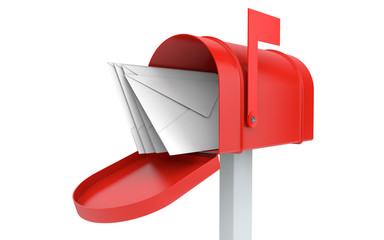 Incoming mail. mailbox with letters isolated