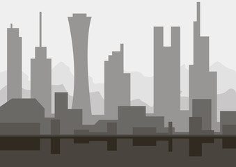 Architectural sketch silhouette abstract city skyline with skyscrapers monochrome
