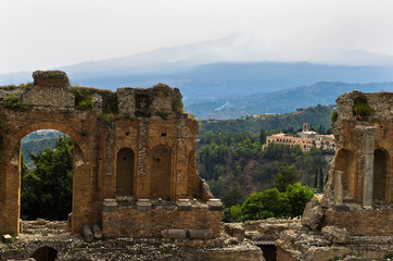 Panorama view from greek theater in Taormina, Sicily, Italy