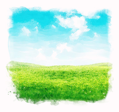 Watercolor sky and grass background