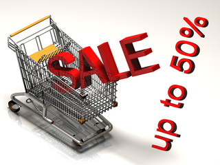 Shopping cart and red fifty  percentage discount, isolated on white background.