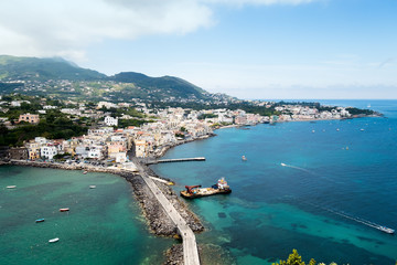 Fishing village, view from the island of Ischia Aragonese Castle