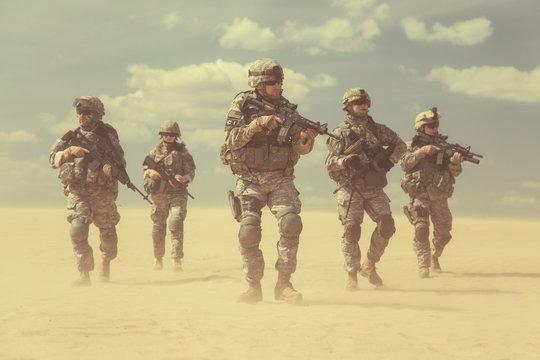 infantrymen in action