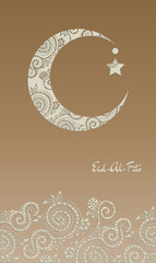 Crescent moon decorated with zentangle for muslim community