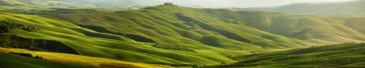 Foto auf Acrylglas Pistazie Green Tuscany hills - panorama
