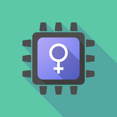 CPU icon with a female sign