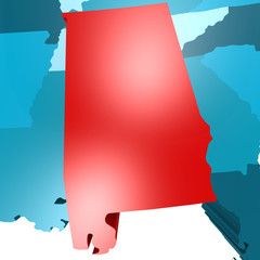 Alabama map on blue USA map