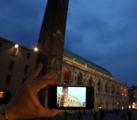photo with smartphone of an italian monument