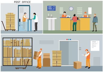 Flat design of post office service: office workers, postmen, people, interior, actions and activities