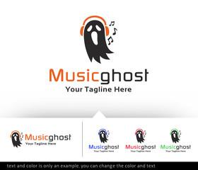 Music Ghost Studio Logo Design Template - Vector