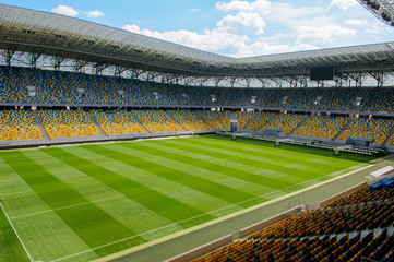 Empty stadium in sunlight