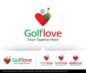 Golf Love Logo Design Template - Vector